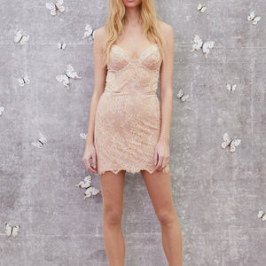 For Love and Lemons Bumble Bustier Dress Rose Gold